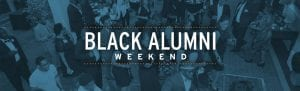 Black Alumni Weekend with Blue Overlay