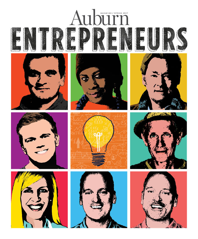 The cover of the Spring Issue for Auburn Magazine featuring Entrepreneurs