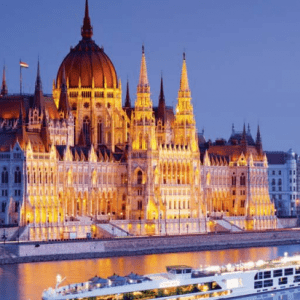 Gems of Danube palace on river