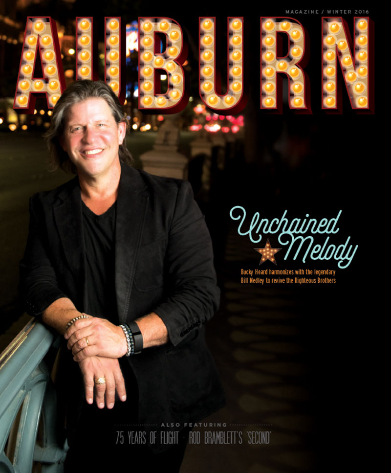 The cover of the Winter Issue for Auburn Magazine featuring Bucky Heard