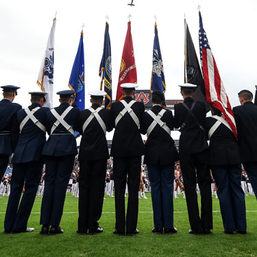 Veterans Holding Flags