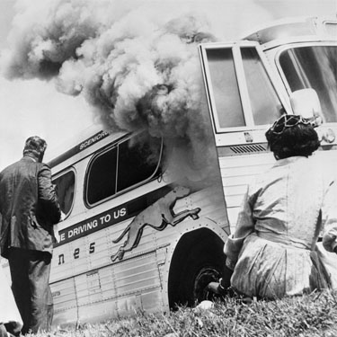 FreedomRiders Bus on Fire