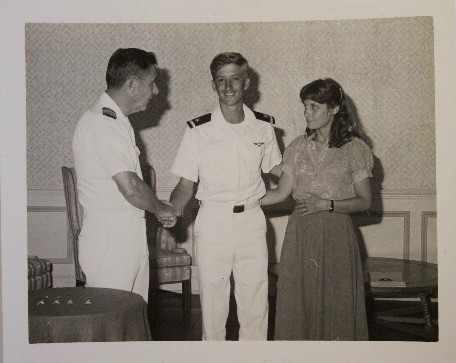 Auburn graduate, Jim Holt, wearing his Naval aviation wings.