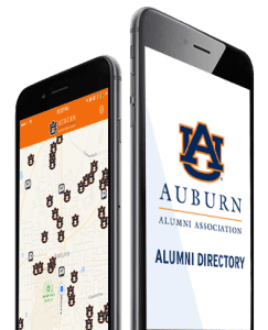 Apple Phones Side by Side with Auburn Alumni Assoc Directory map