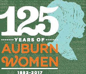 White text on 125 Auburn Women Logo