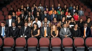 black alumni group photo in chairs