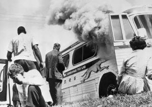 Moments after escaping an attack by white supremacists on a Greyhound Bus, Anniston 1961