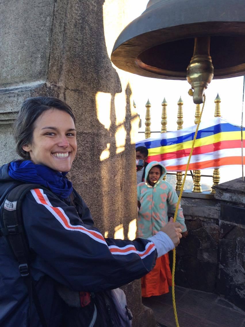 Carmen Britton ringing the bell at the top of Sri Pada (Adam's Peak)