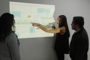 Meredith MacLean - Supply Chain Manager, showing two others a flow chart