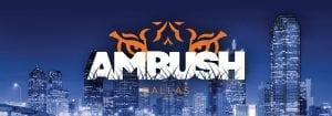 AMBUSH logo with tiger eyes over Dallas sky line