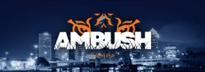 AMBUSH logo with tiger eyes over Tampa Sky Line