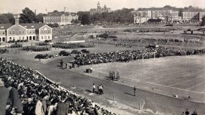 At the football game, 1942