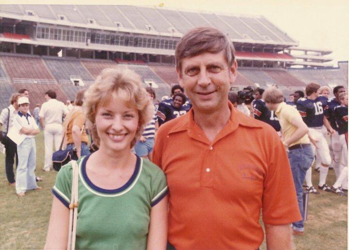 Patricia McArthur Booker '78 with basketball coach Sonny Smith