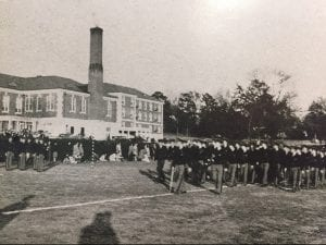 ROTC drills outside the Quad, 1943