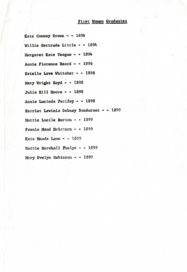 A list of Auburn's first female graduates.