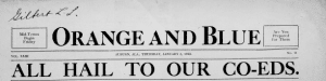 """Orange and Blue headline reads """"All hail to our Co-Eds"""""""