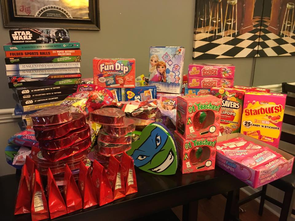 Valentine's Day Candies that Tori Allen donated to a homeless shelter