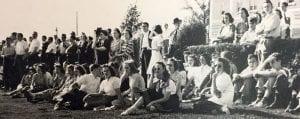 Watching ROTC drills, 1943
