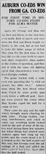 Orange and Blue news column about Auburn Co-ed winning against UGA