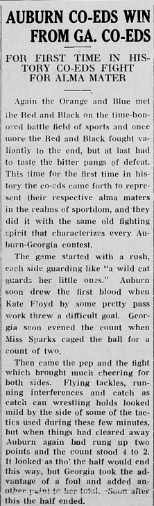 Orange and Blue news column about Auburn Co-ed winning against UGA