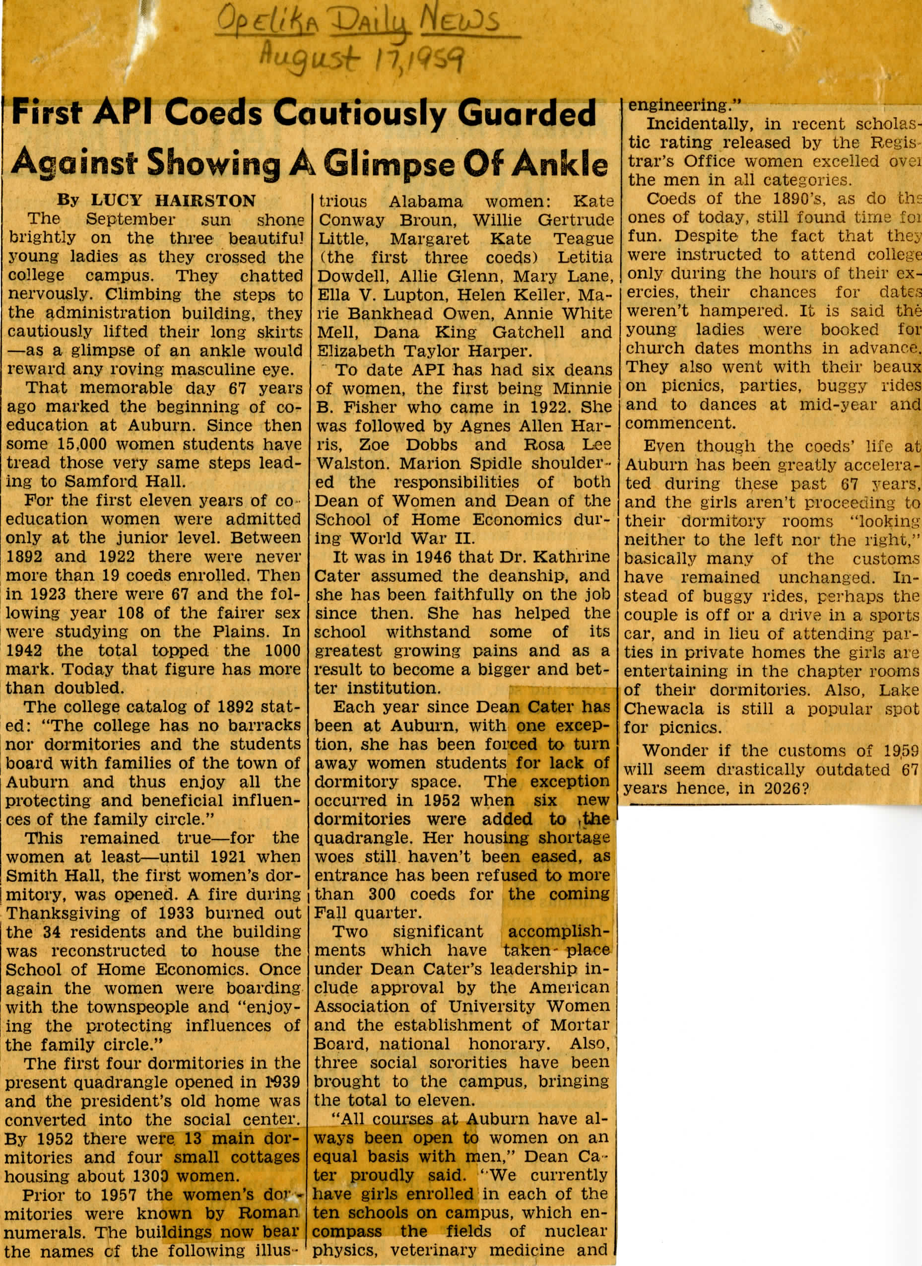 In 1959, the Opelika Daily News reported on gender specific rules imposed on Auburn women.