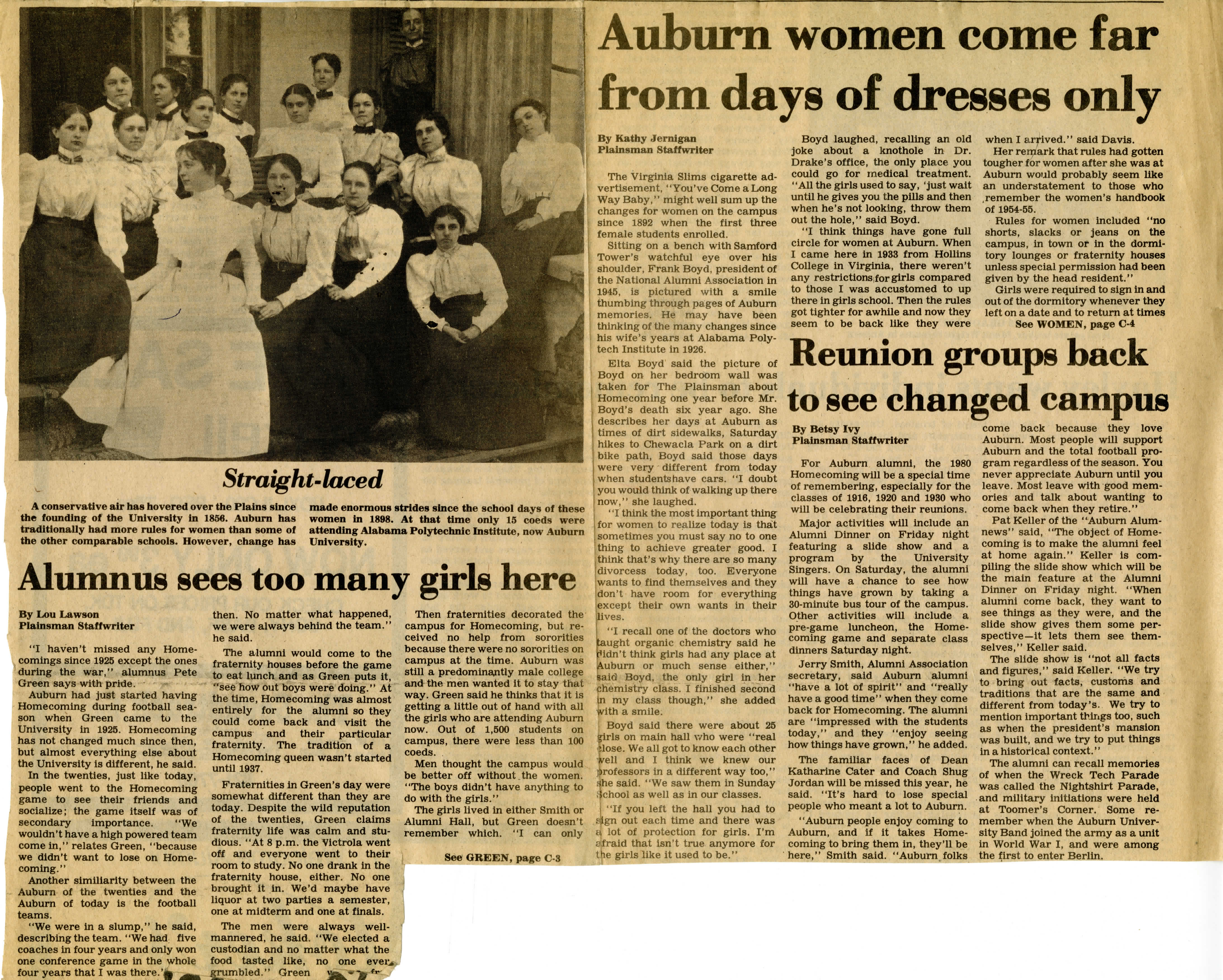 A newspaper clipping that reflects on women's advancements at Auburn University.