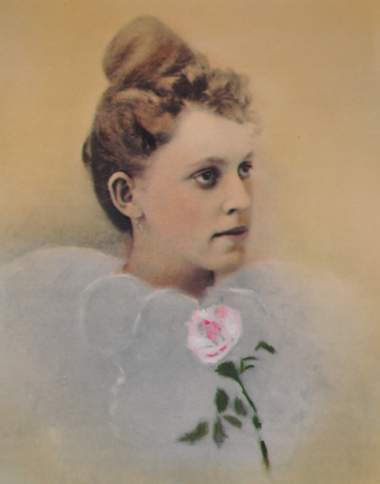 Portrait painting of Willie Little in her wedding dress
