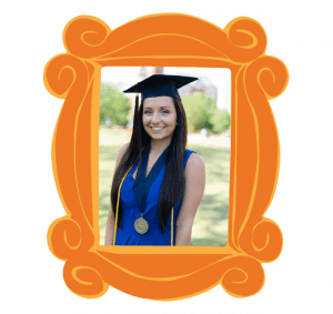 A girl in a graduation in a frame