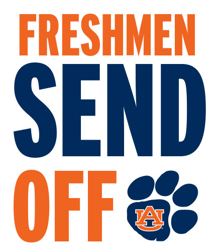 Freshmen send off text with tiger paw logo