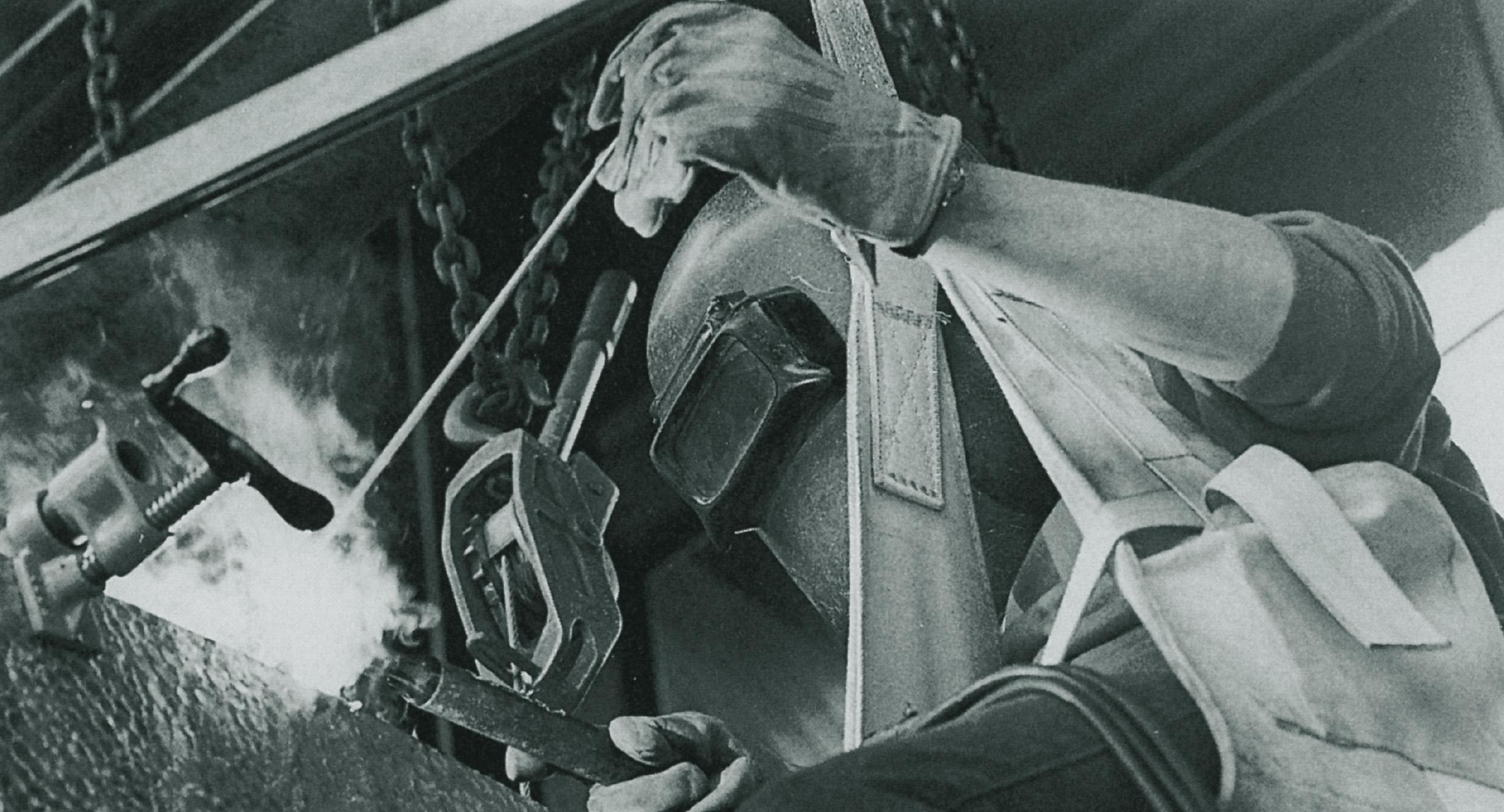Jean Woodham welding