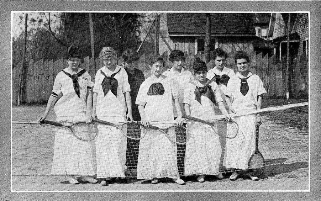 First Women's Tennis team with raquets