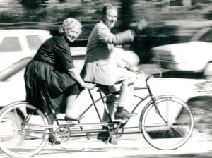 Cater and foy on bike