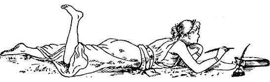 illustration of girl laying down writing