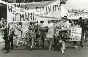 women marching for title ix rights