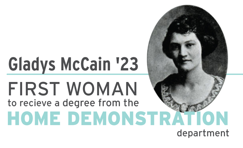 Gladys McCain first woman to graduate in home ec
