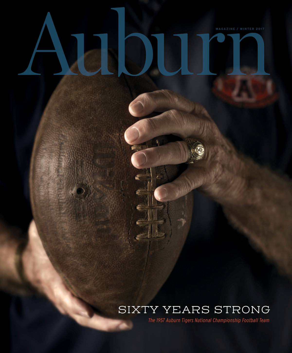 The cover of the Winter Issue for Auburn Magazine celebrating the 1957 National Championship
