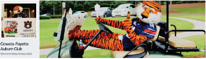 Aubie in a golf cart