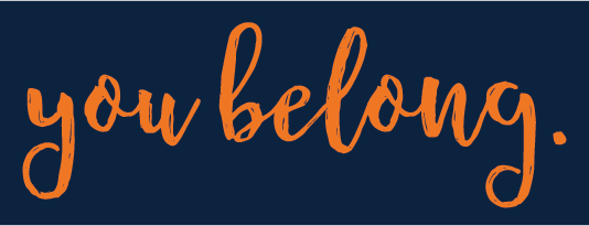 Orange You Belong Type Logo on Blue