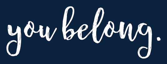 White You Belong Type Logo on Blue