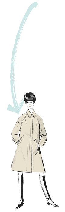 Fashion drawing of a woman in a raincoat with an arrow pointed at her