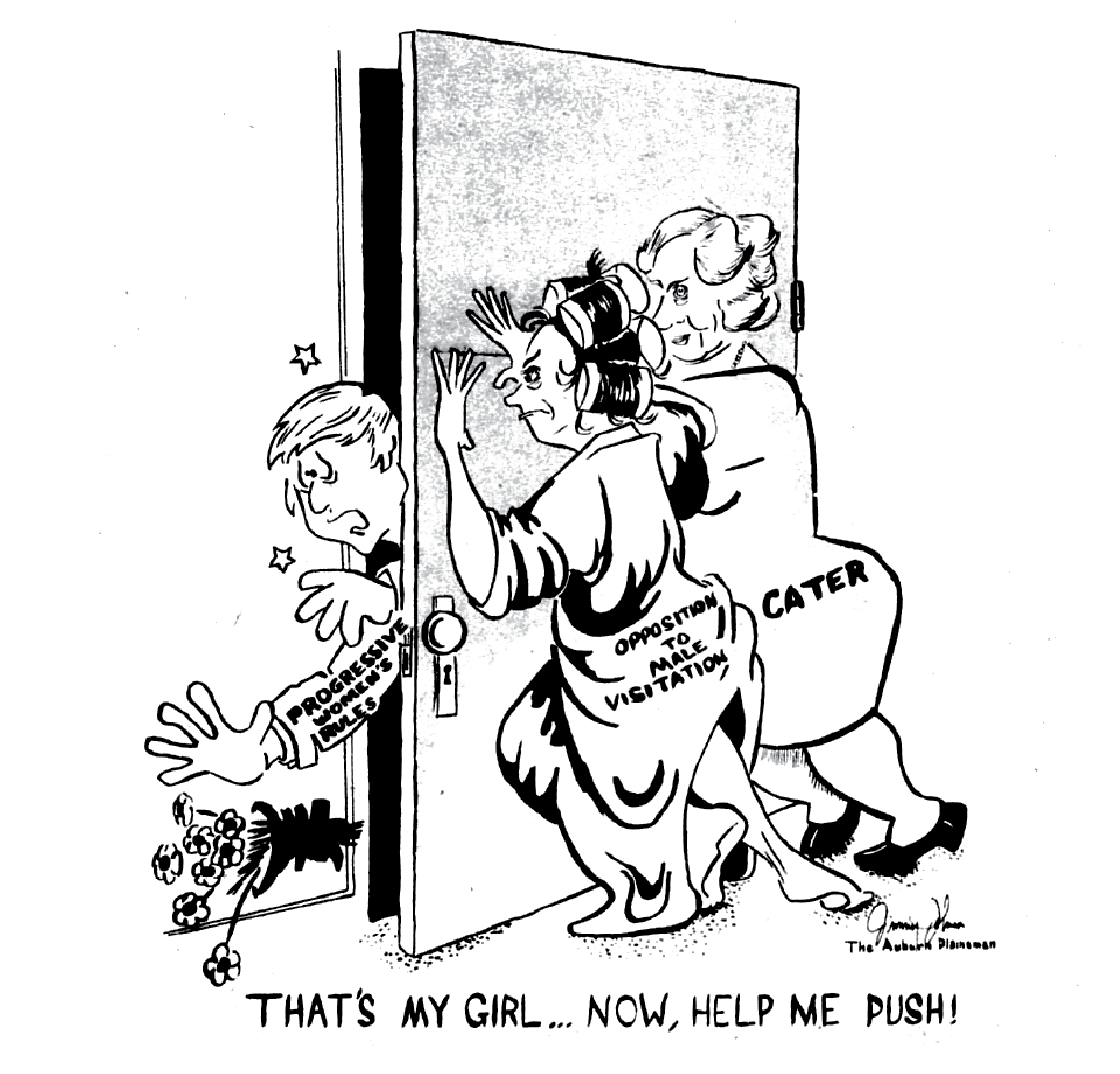 Dean Cater and Opposition to Male Visitation push a door closed on Progressive Women's rules.