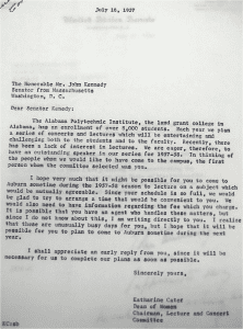 Letter to John Kennedy from Dean Cater about him coming to visit