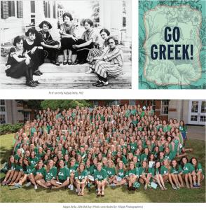 (top left) First sorority, Kappa Delta, 1922; (top right) Go Greek graphic; (bottom) Kappa Delta, 2016 Bid Day (Photo contributed by Village Photographers