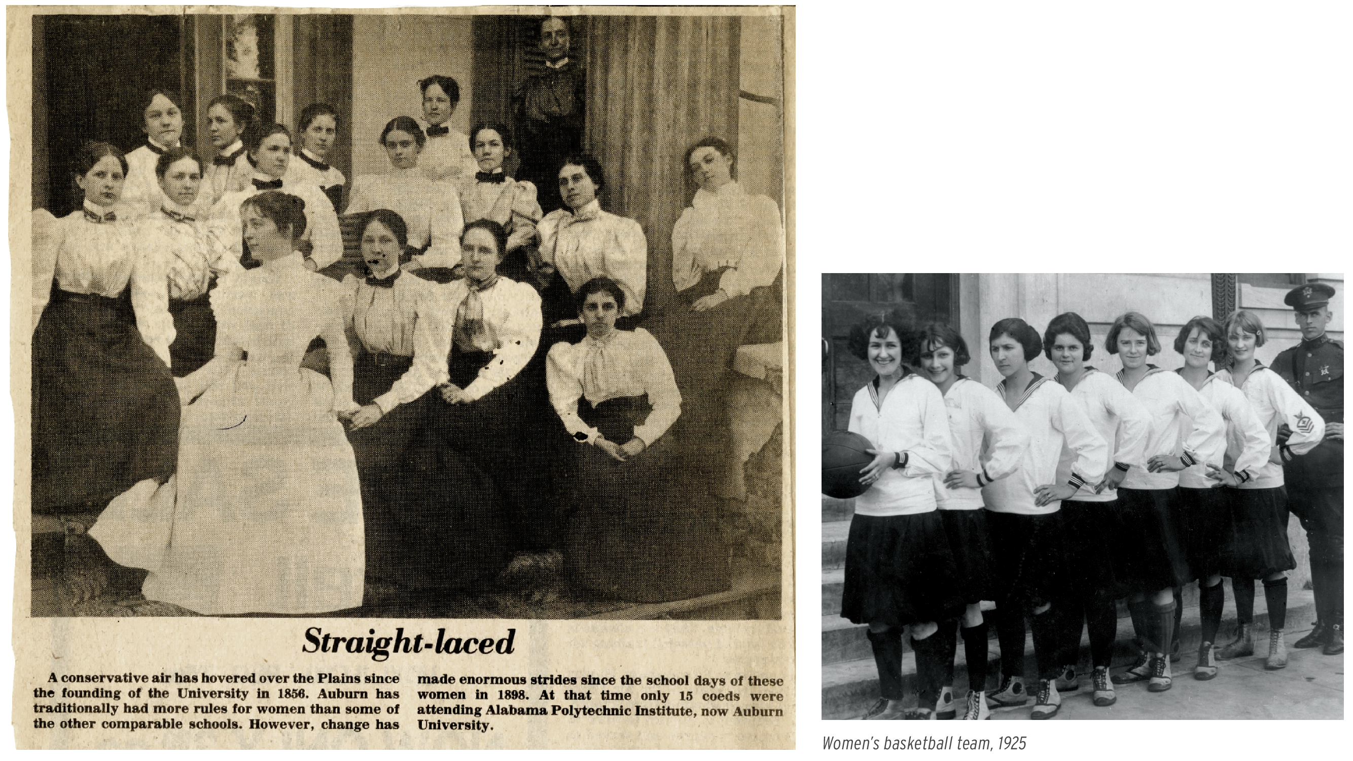 Newspaper clipping that says Straight Laced; Women's basketball team, 1925