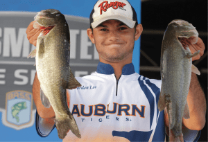 Jordan Lee '12 with two large bass