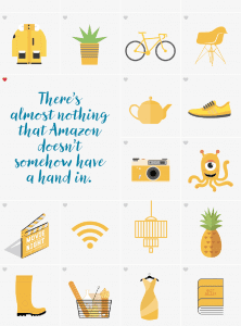 """""""There's almost nothing that Amazon doesn't somehow have a hand in."""" Yellow items graphic"""