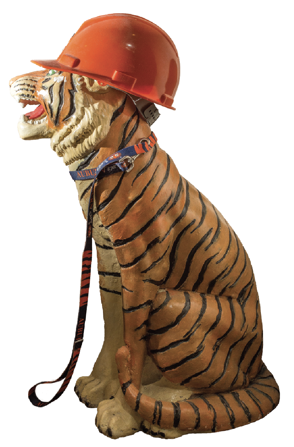 Tiger Statue wearing orange hard hat