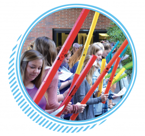 Students with Boomwhackers
