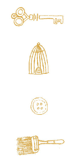 Key, birdcage, button and paintbrush icons