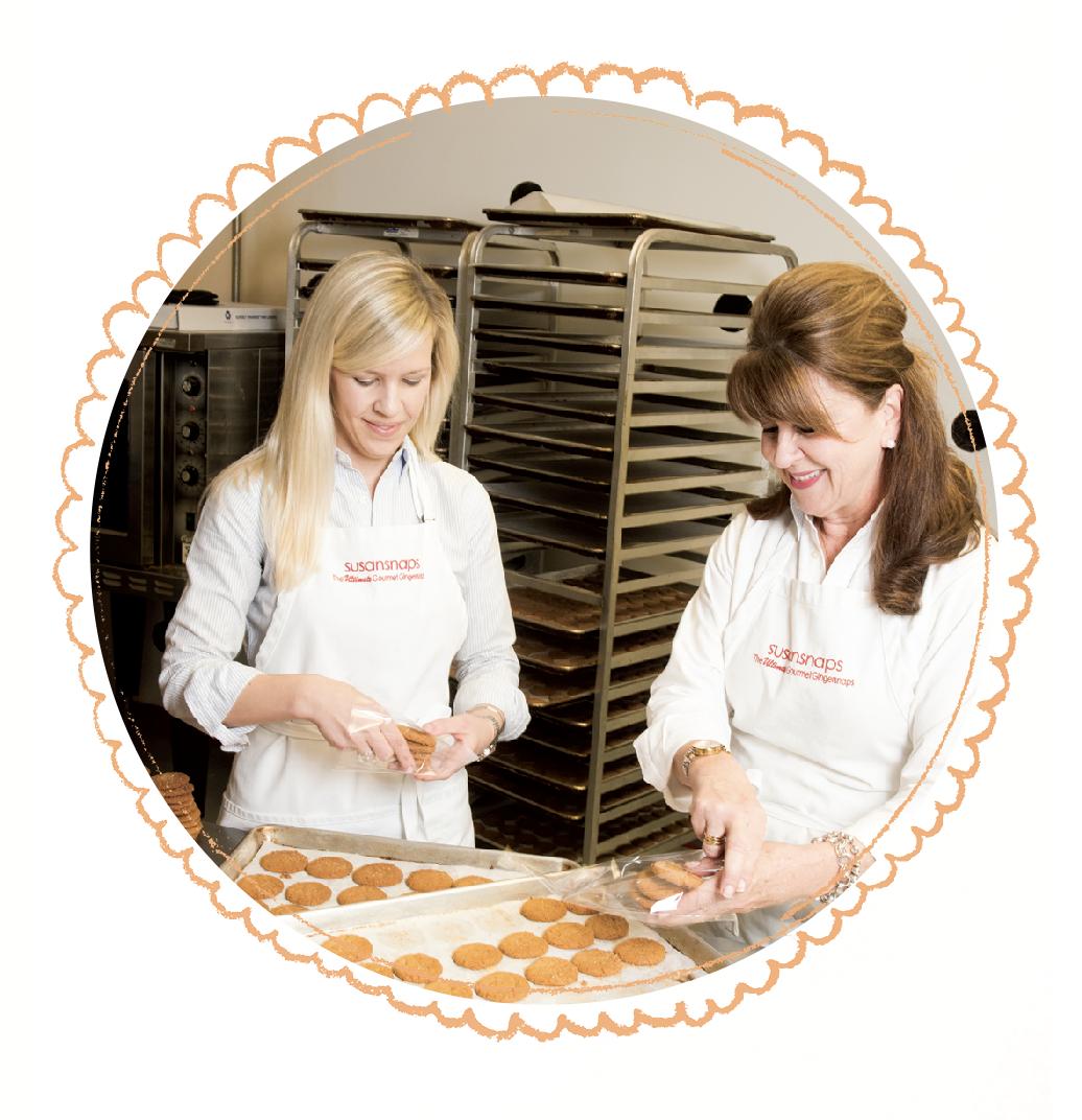 Susan and mother baking Susansnaps